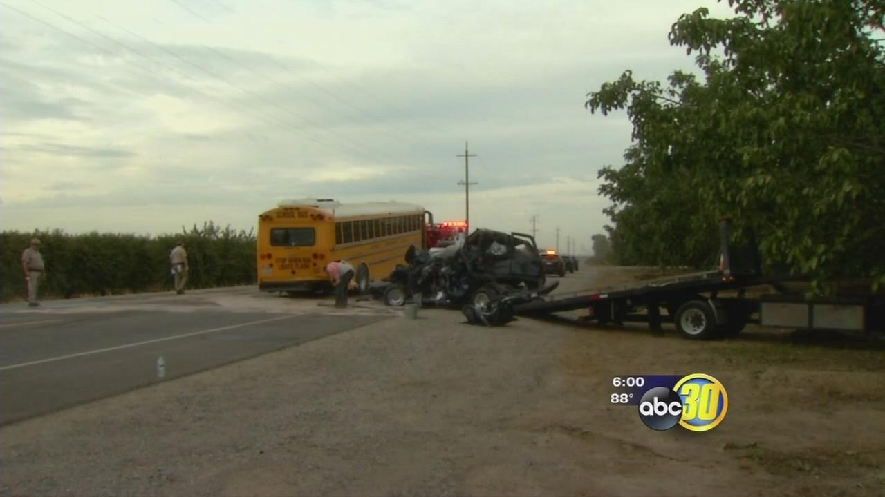 School bud collides with big rig on Highway 43