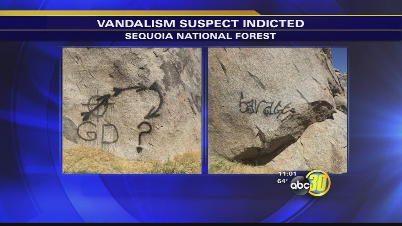 Man accused of paining on historic carving goes to court