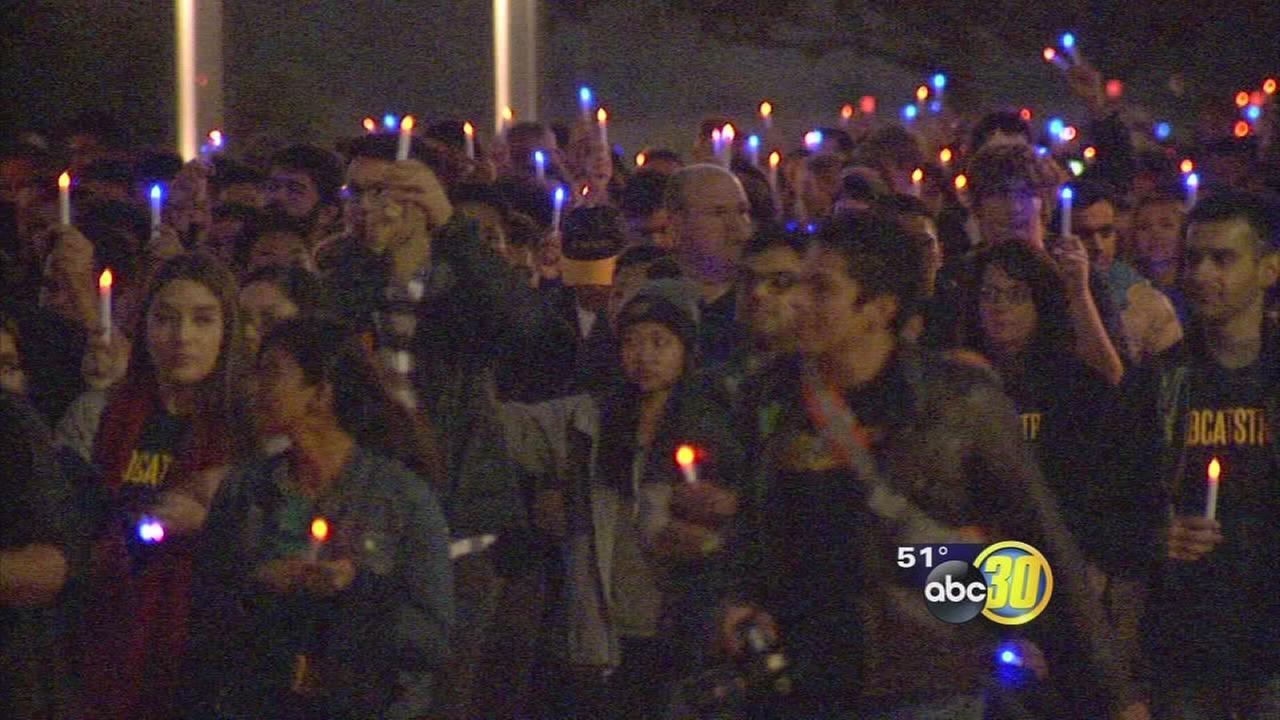 Candlelight and healing: UC Merced students hold vigil to take back their campus after tragedy