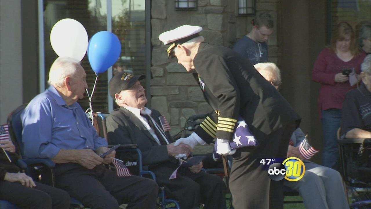 Two 100-year-old veterans honored in Fresno
