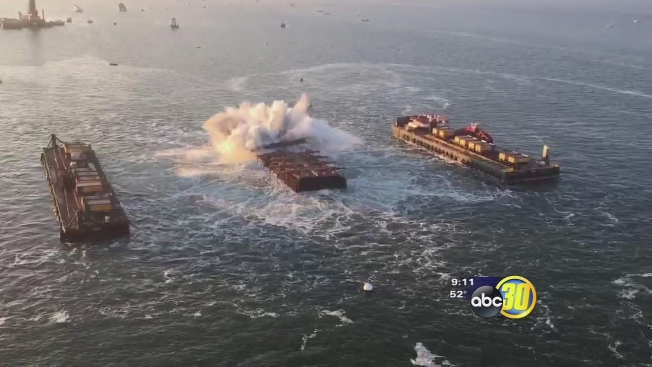 Section of old Bay Bridge in San Francisco went out with a bang
