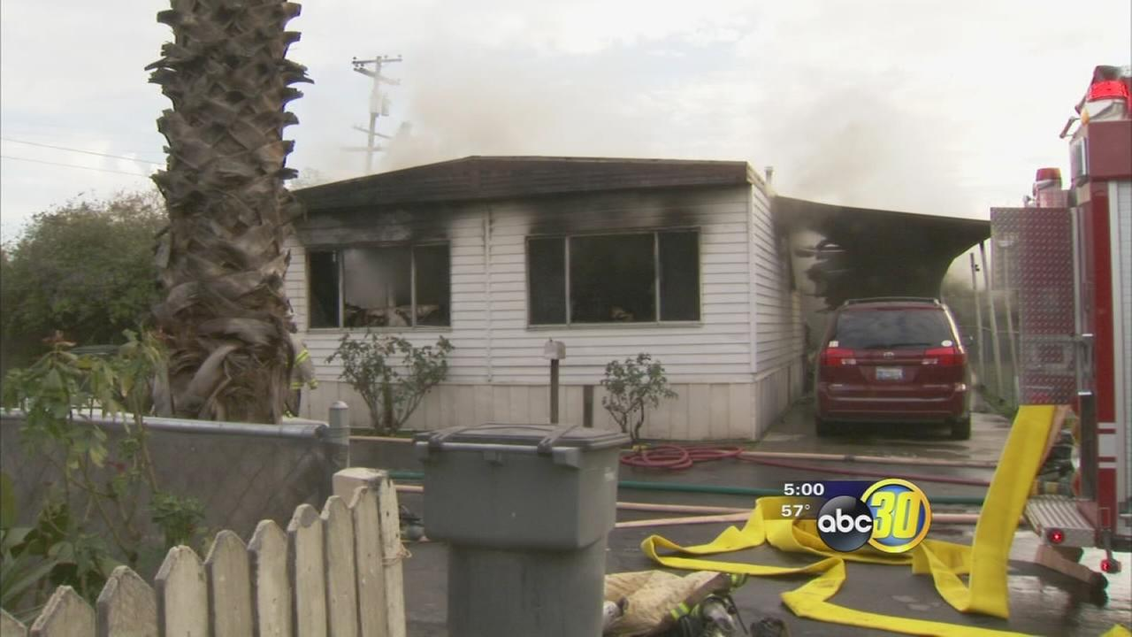 Fire at a mobile home park in West Central Fresno leaves one dead and a service dog missing