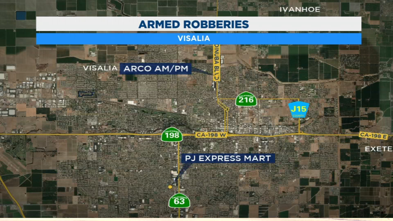 Police searching for suspects involved in two Visalia armed robberies