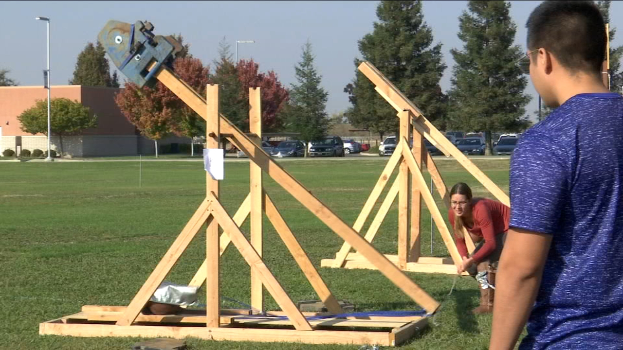 Science can be fun and a group of student at Merced College proved just that. They applied what they learned in the classroom and created siege weapons that launch basketballs.