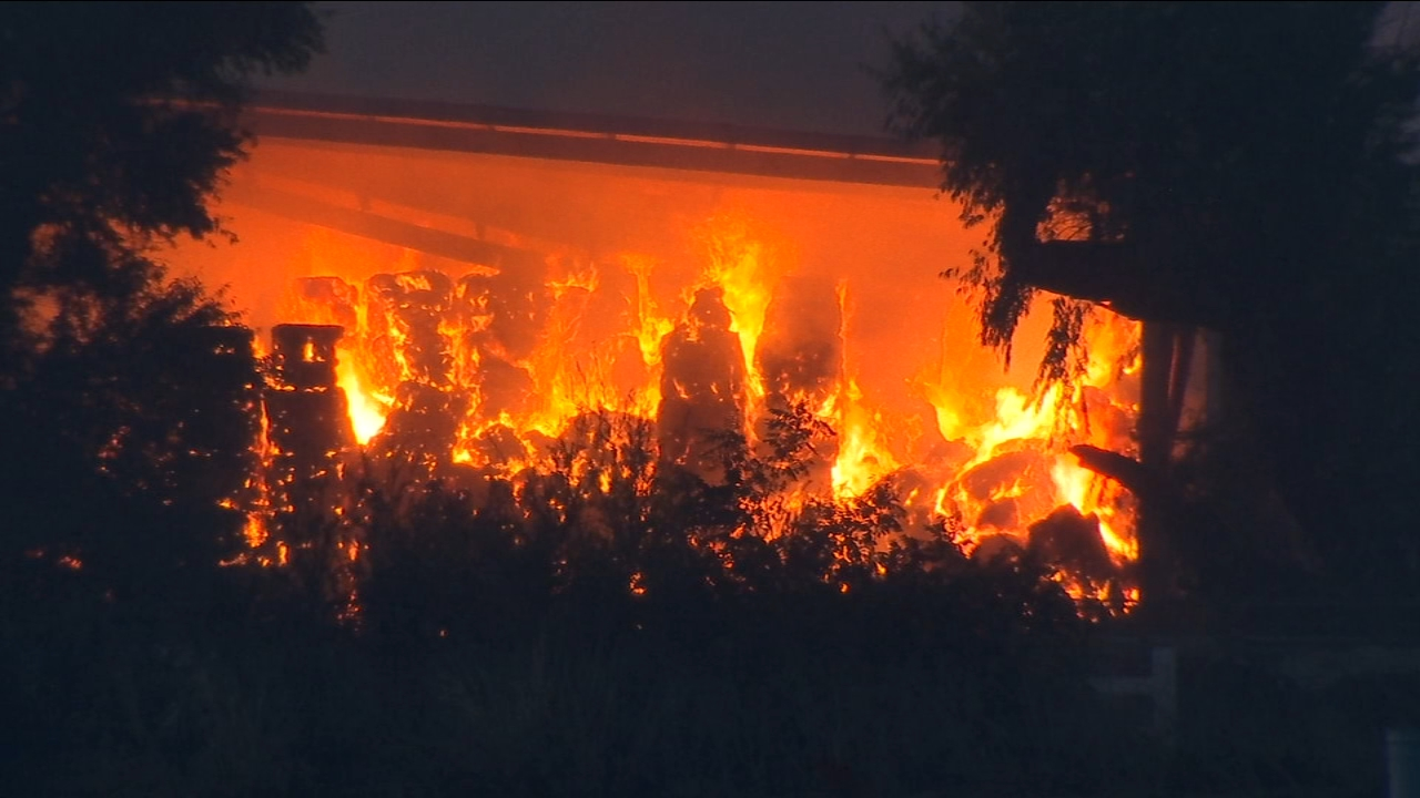 Drivers passing by on Highway 99 and Le Grand on Wednesday morning spotted flames from a haystack fire near the road.