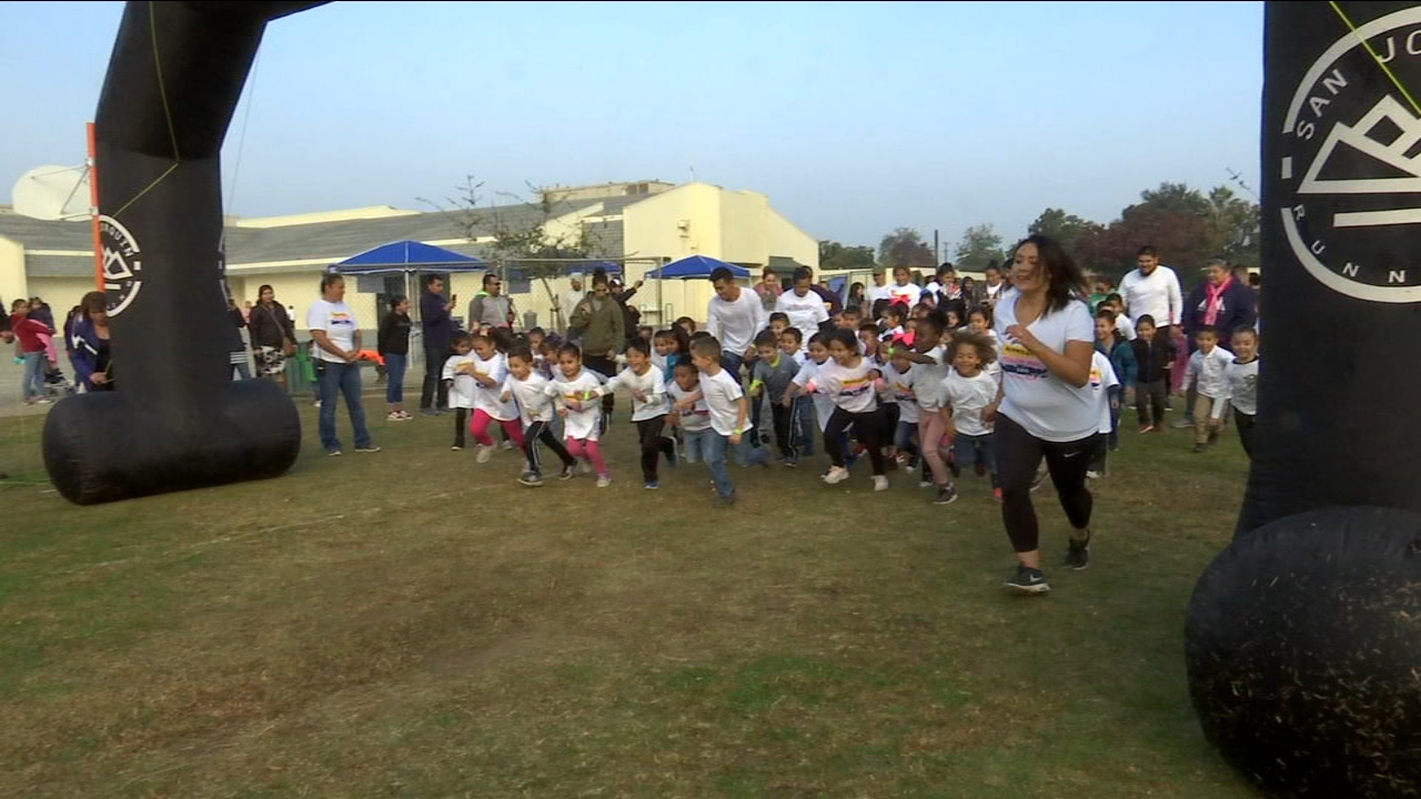 Students at Burroughs Elementary School in East Central Fresno ran for a cure on Friday for the Second Annual Color Run.