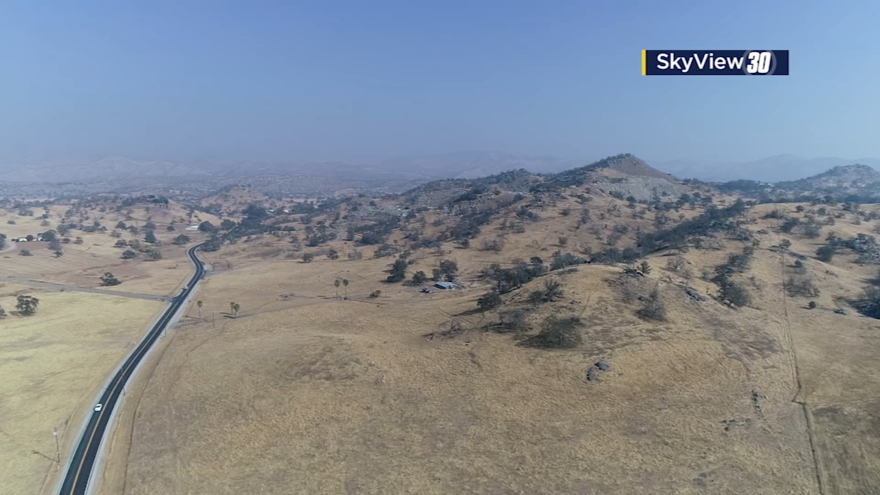Skyview30 drone footage shows the smokey haze over the footfills, seen form Highway 168 and Academy in Fresno, Calif.
