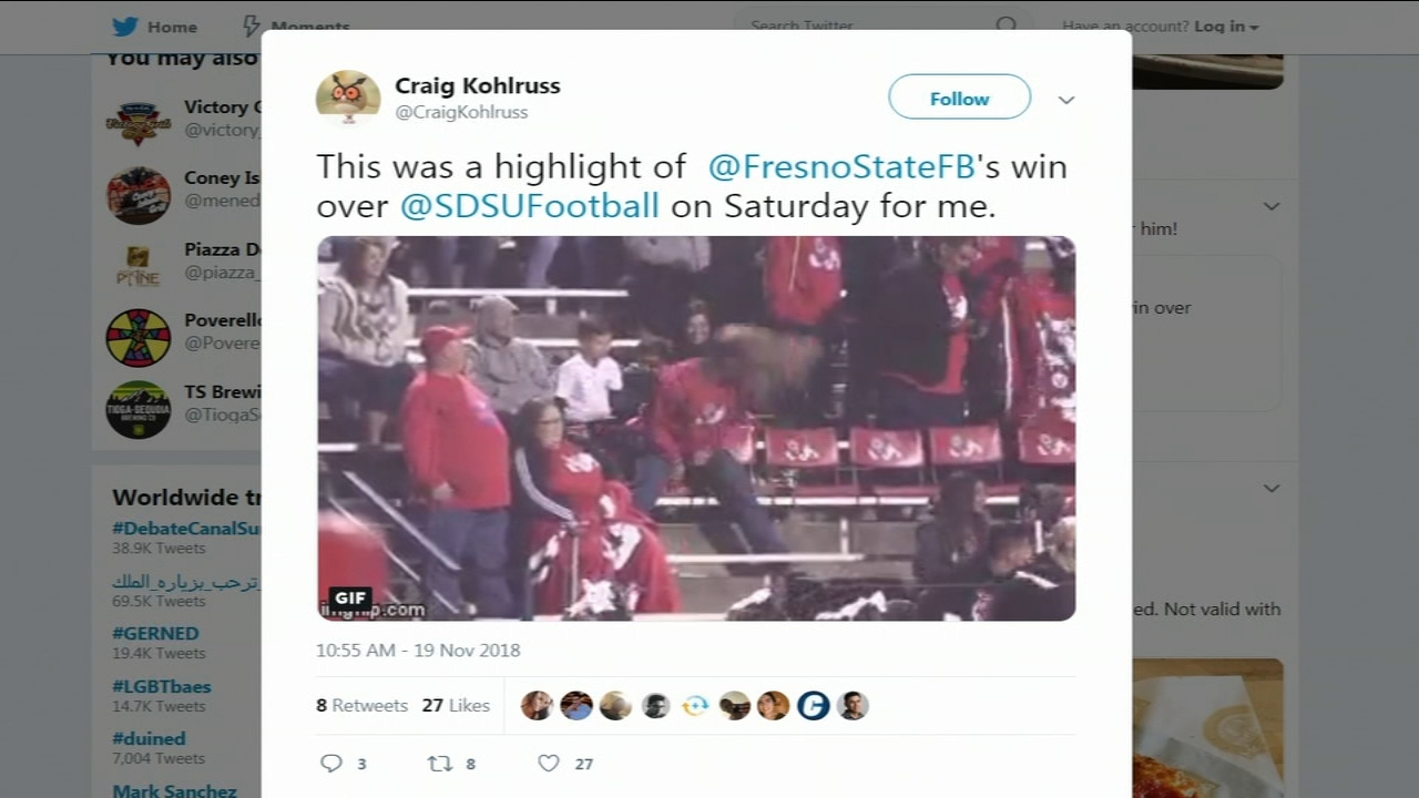 Bulldog fans are celebrating Fresno States 23 to 14 win against San Diego State this weekend -- and one fan showed his excitement in an *eye catching* way.