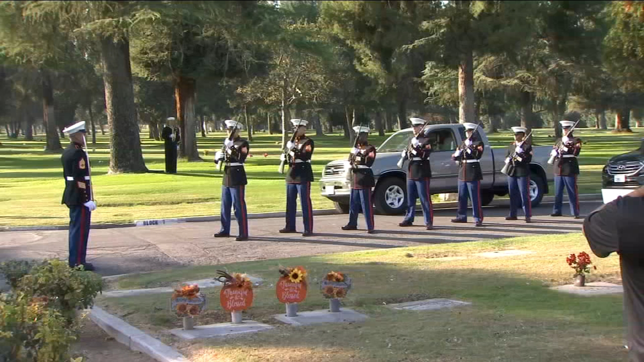 Sgt. Dwight Randall, a Fresno Marine, was killed during World War II and was given a belated goodbye on Tuesday.