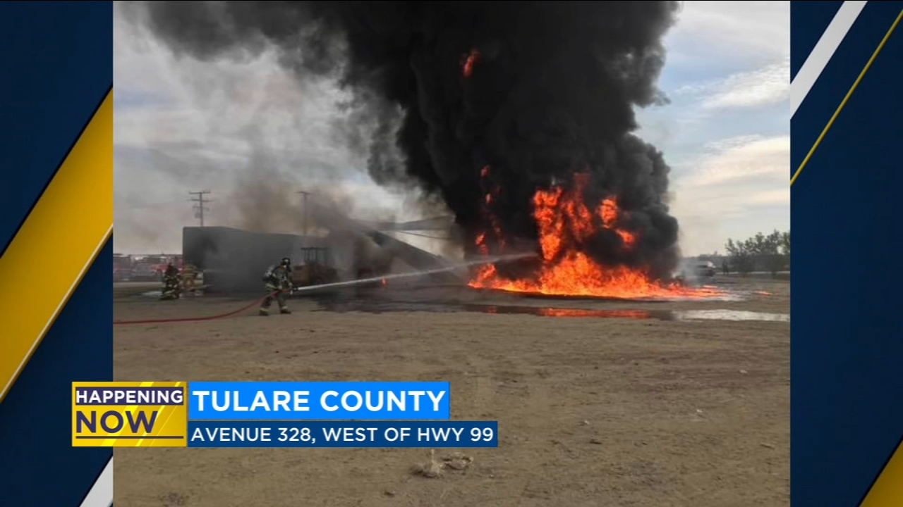 Fire crews battling barn fire in Tulare County