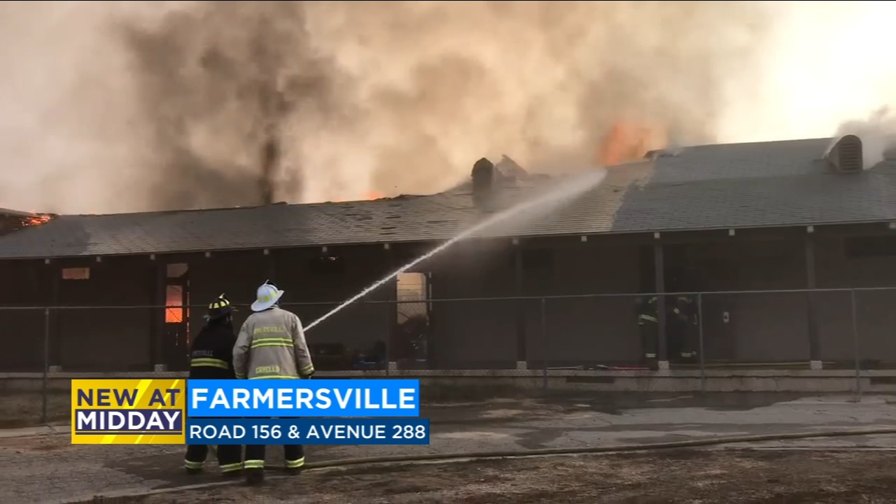 The Tulare County Fire Department is battling an industrial fire just east of Farmersville.