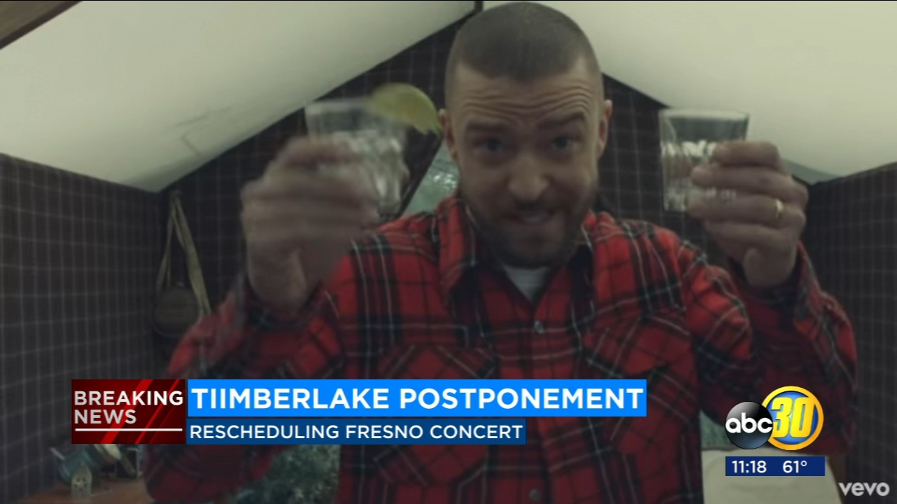 Justin Timberlake has postponed his concert at the Save Mart Center due to bruised vocal cords, according to officials.