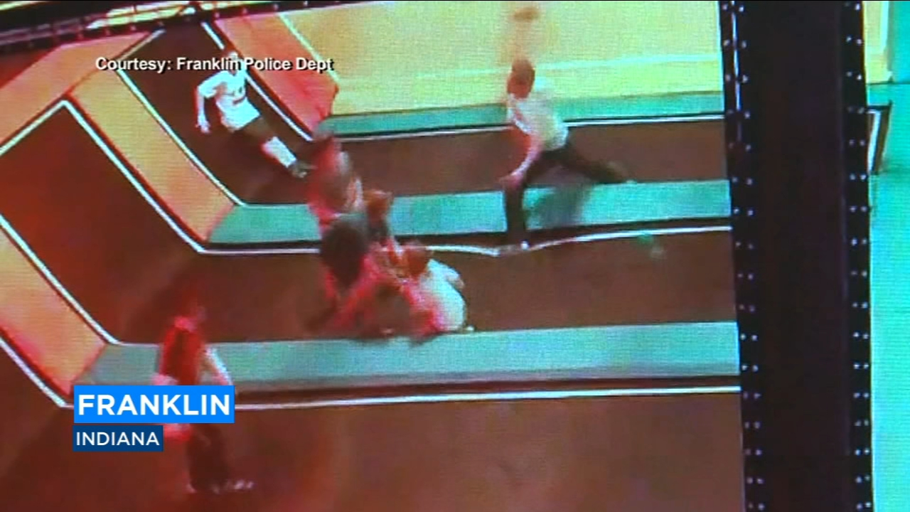 Police in Indiana are looking for a man caught on camera roughing up some kids at a childrens trampoline park.