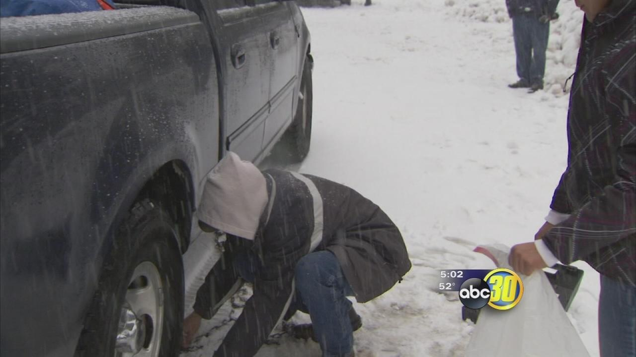 Snow catches drivers off guard in the Sierras