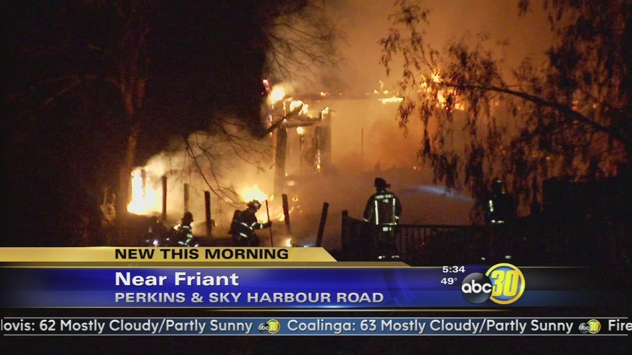 Fire destroys home in Friant area