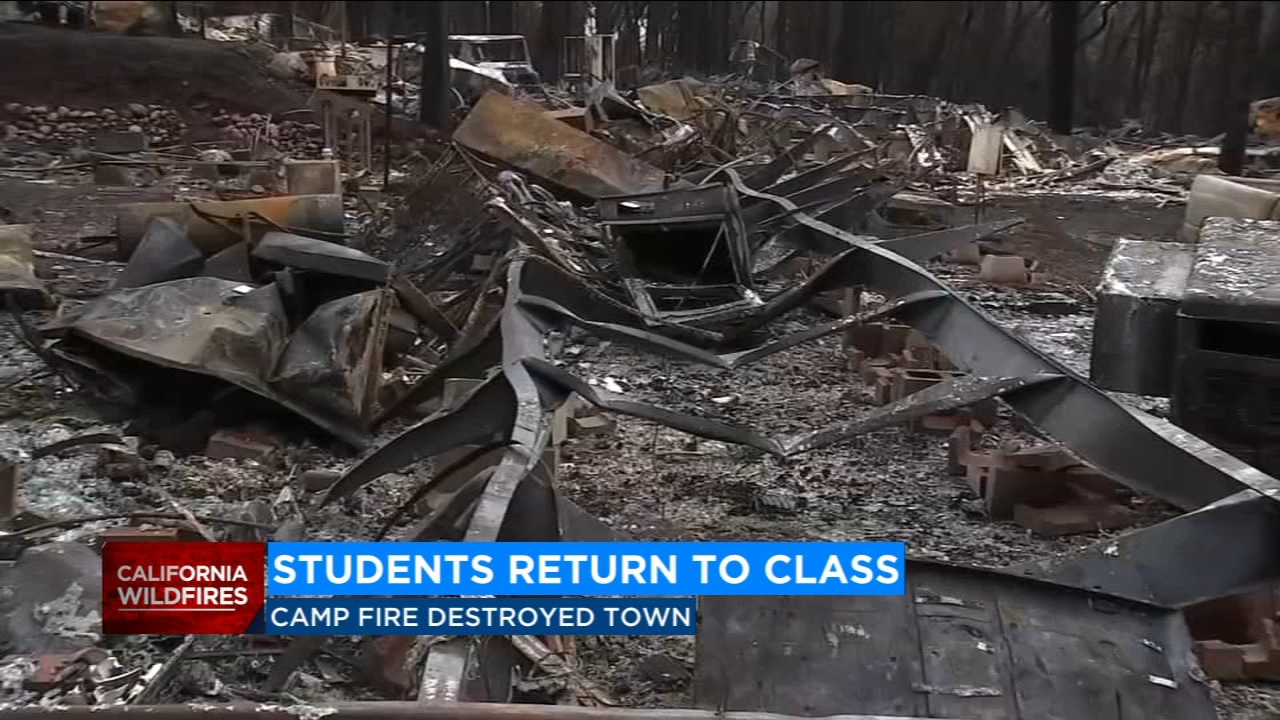 Students displaced by the Camp Fire in Paradise returned to school on Monday for the first time since the deadly fire leveled most of their town.