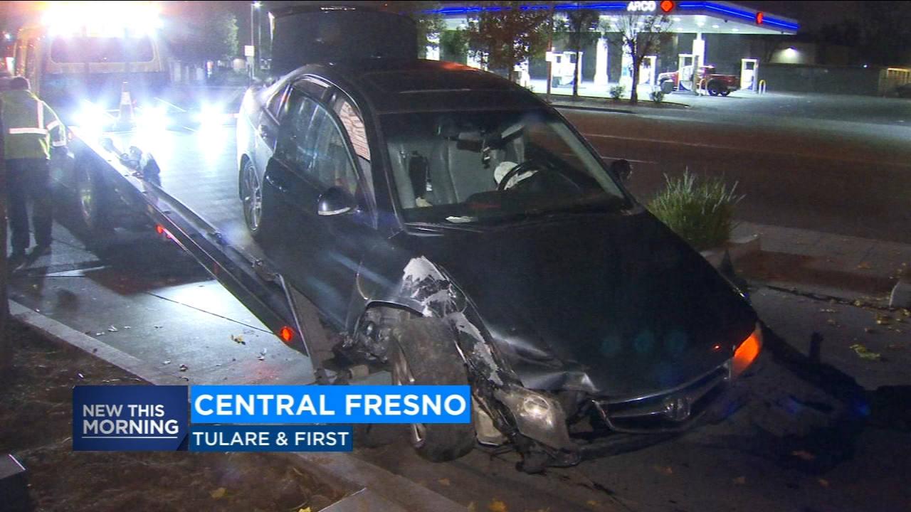 A man is in police custody after crashing into the patio of a Starbucks in Central Fresno.