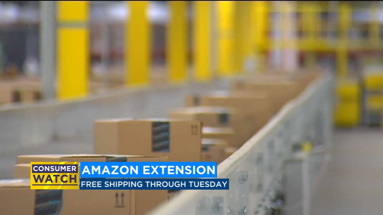 Amazon extends free shipping deal to Tuesday
