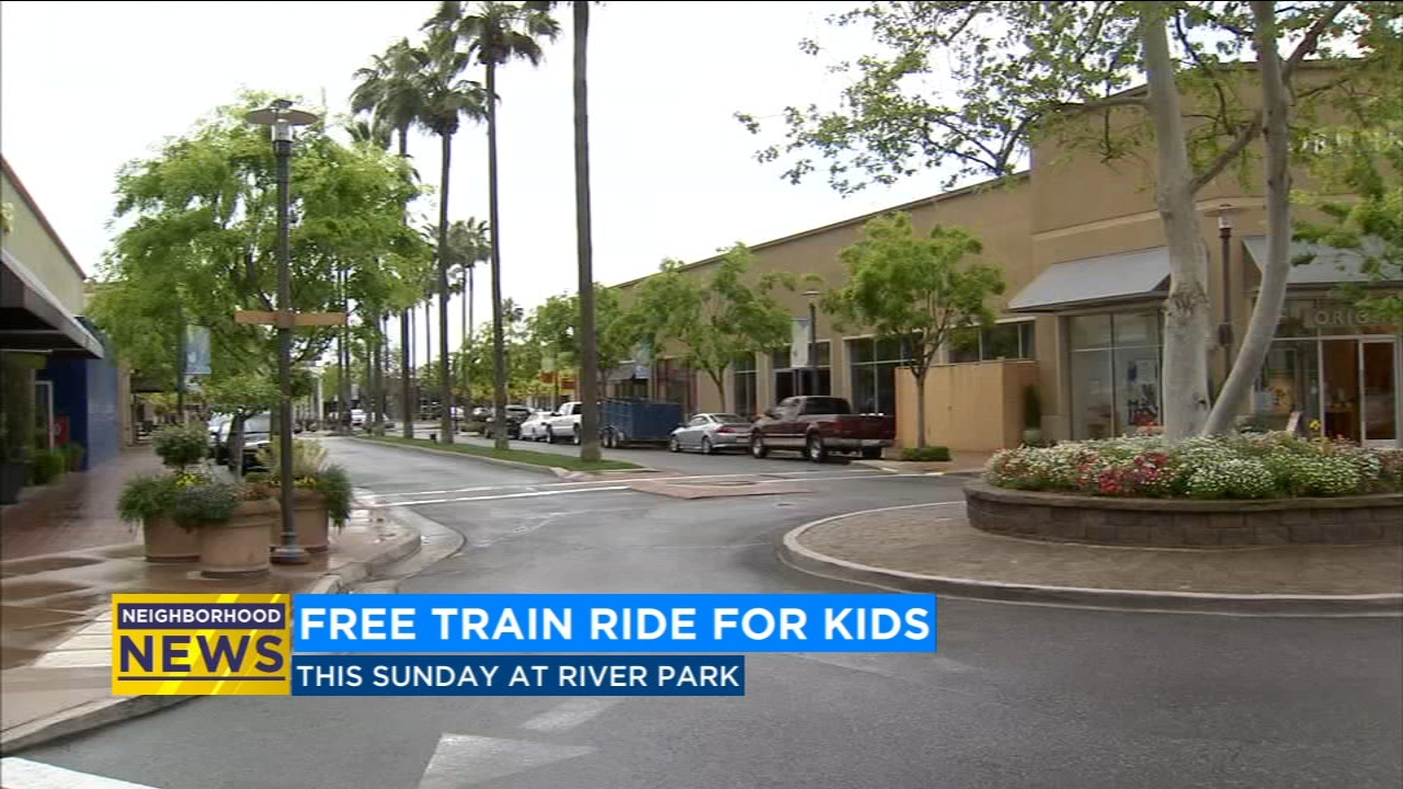 Kids have the chance to catch a ride on a small train as it travels throughout the River Park shopping center