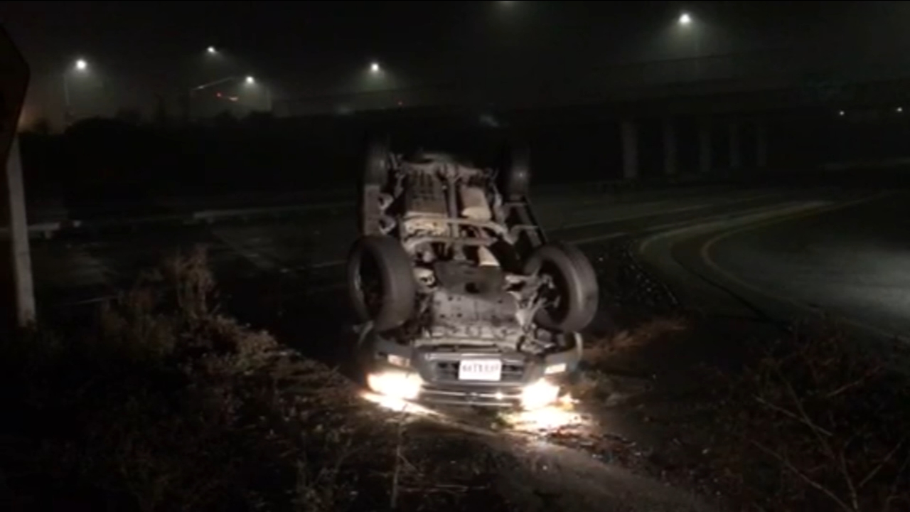 SUV found flipped on Highway 180, police say driver was nowhere to be found