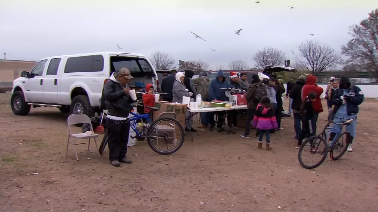 In different parts of the city, people served hot food and gave out gifts to those in need.