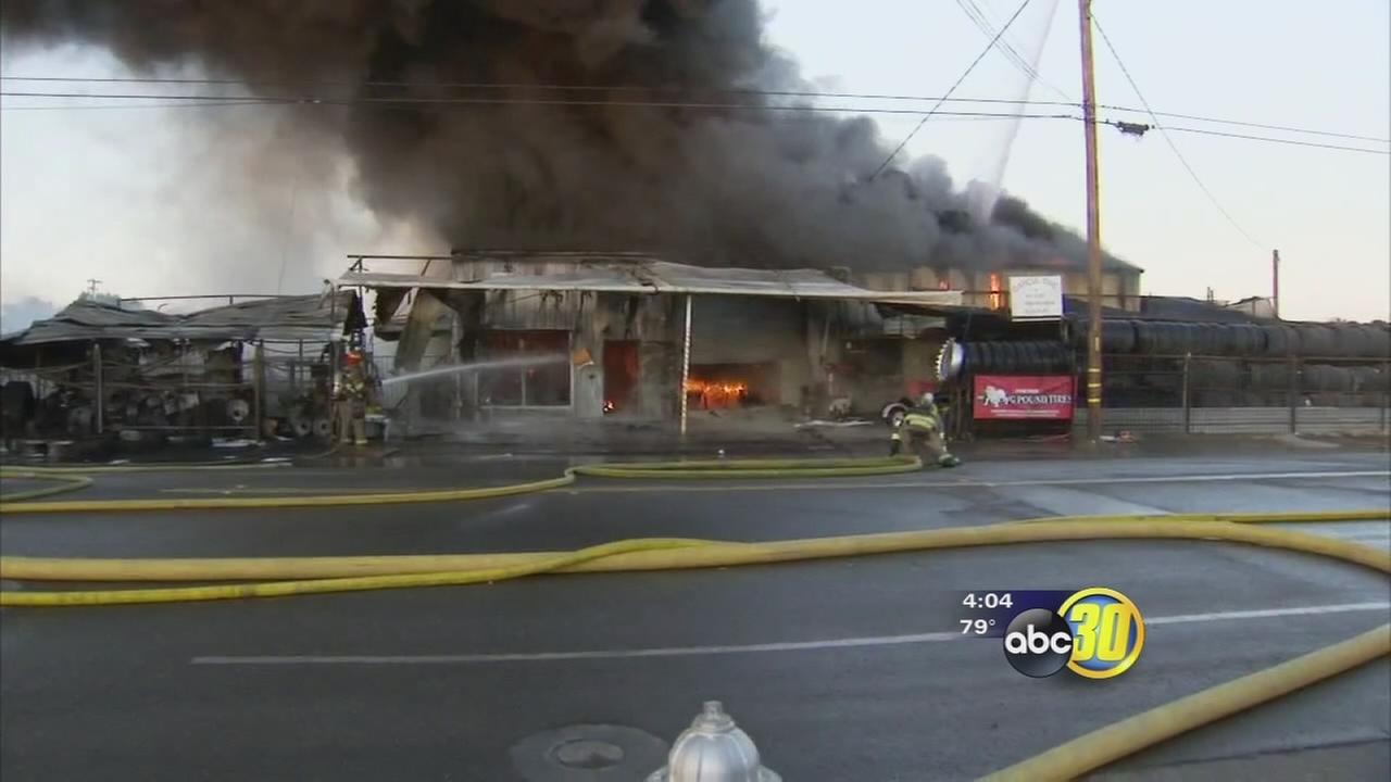Large fire consumes tire shop in San Joaquin