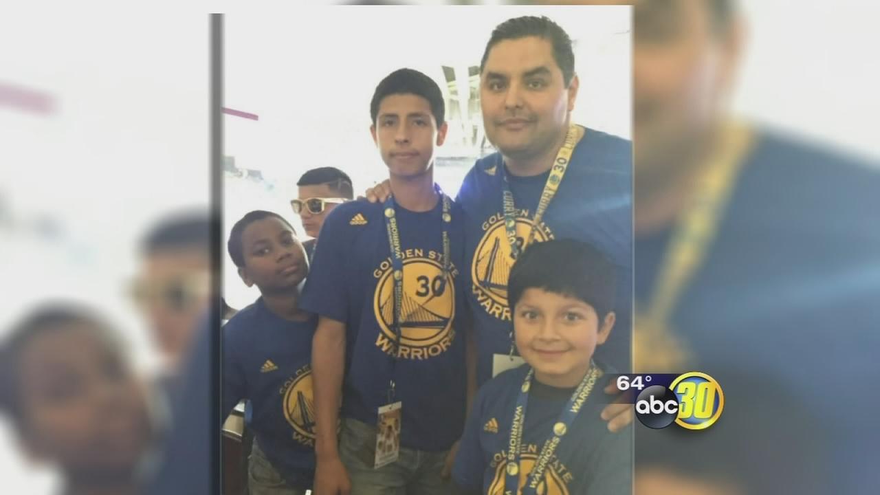 Kids enjoy Warriors game courtesy of Fresno PD, community