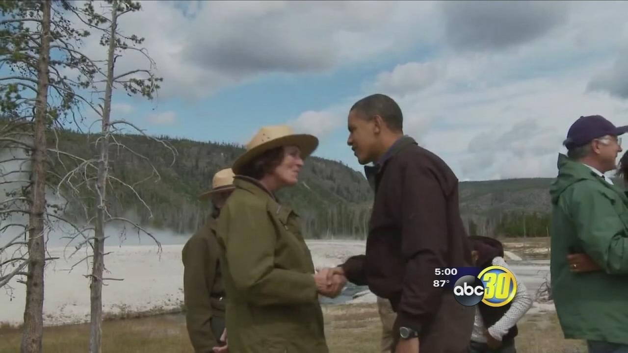 Park goers and officials getting ready for President Obamas visit to Yosemite