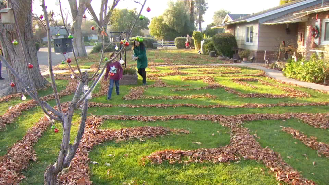 A family in northwest Fresno has created a labyrinth of leaves on their front lawn for their whole neighborhood to enjoy.