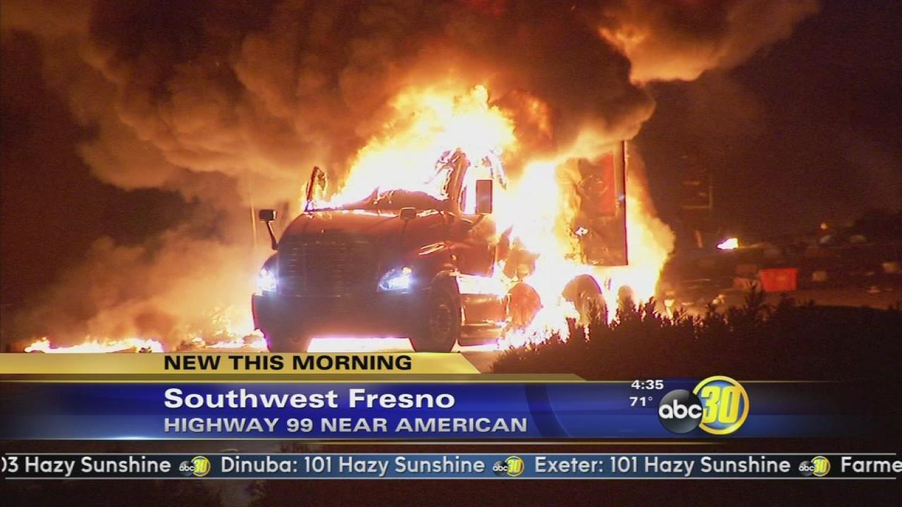 Big rig accident causes grass fire in Fresno