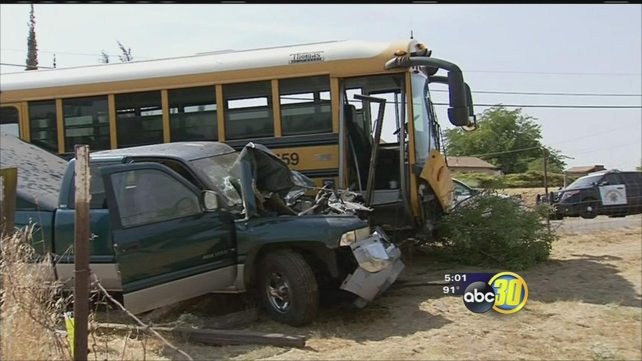 Drivers hospitalized to hospital after collision with pickup truck in Madera County