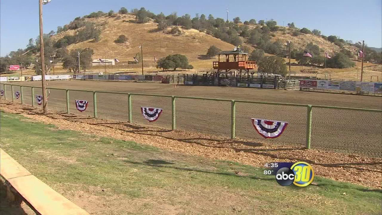Cowboys and cowgirls heading to the rodeo grounds for the first pro-rodeo in Madera County