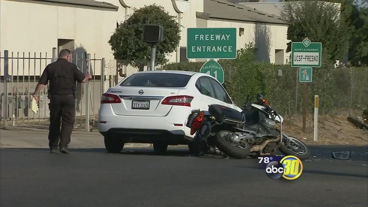 Motorcycle officer seriously injured after being hit by car in Downtown Fresno
