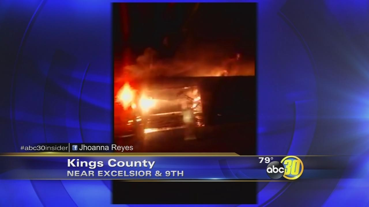 Large fire burning at Kings County farm