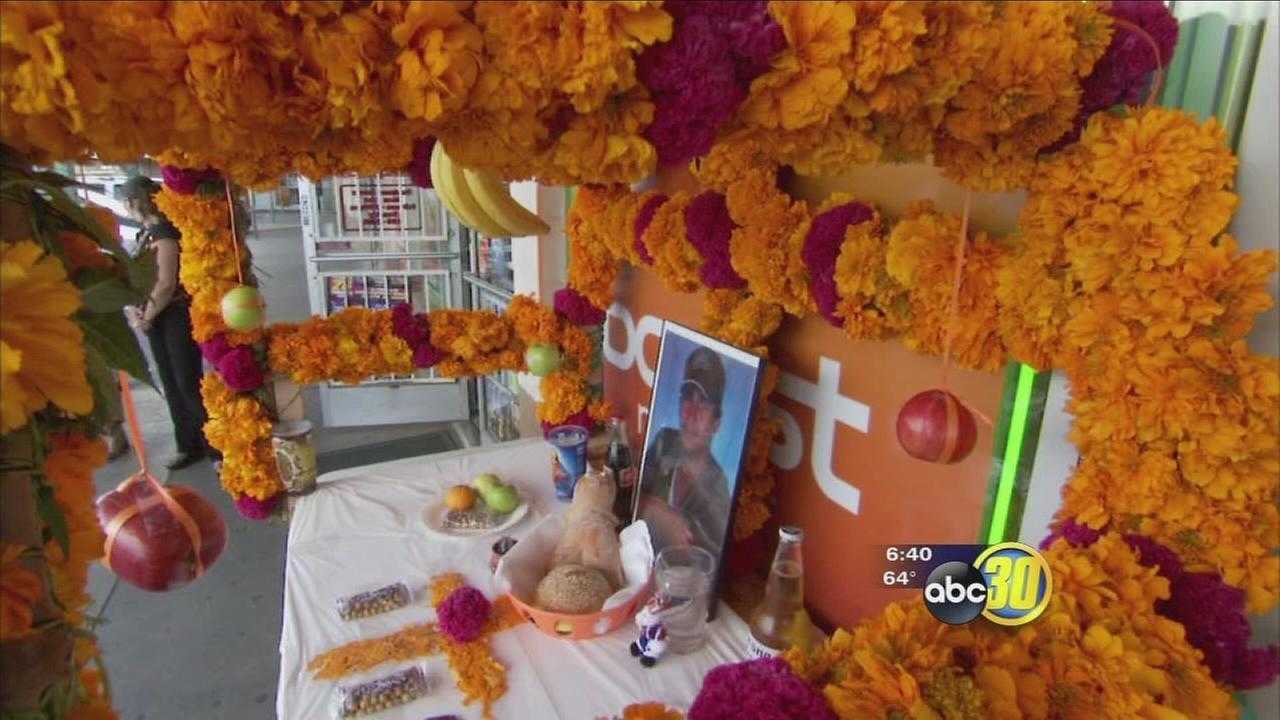 Dia de Los Muertos altars popping up in the streets of downtown Selma