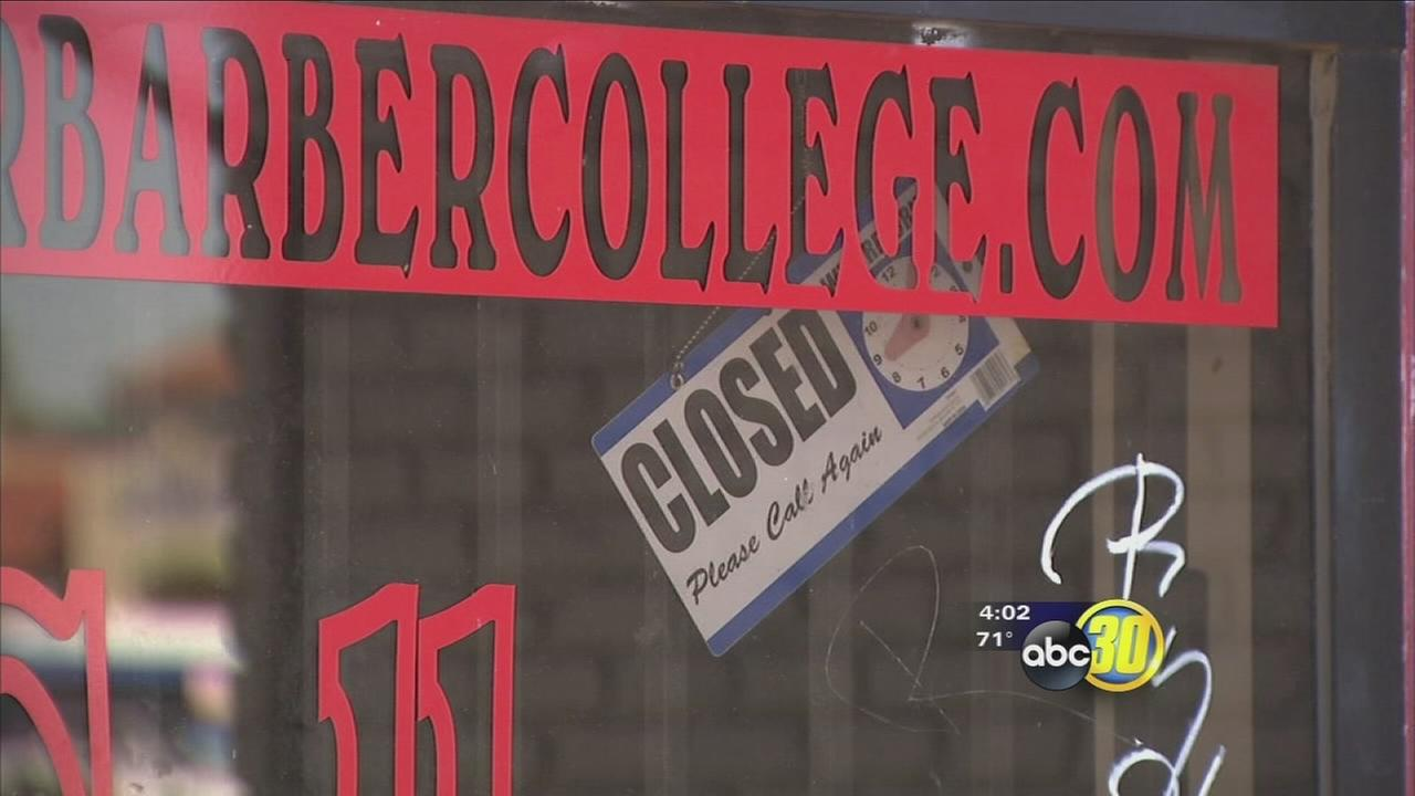 Students left irate after Central Fresno barber college shuts down