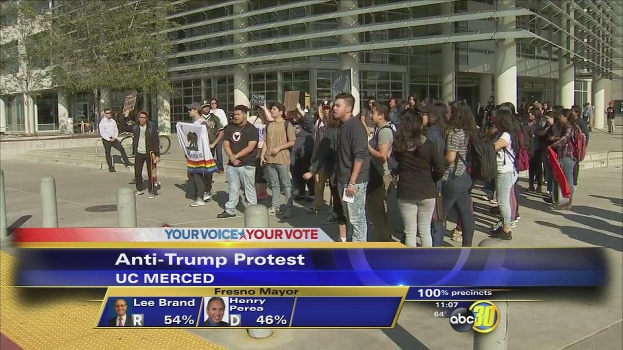 Anti-trump protesters gather at U.C. Merced