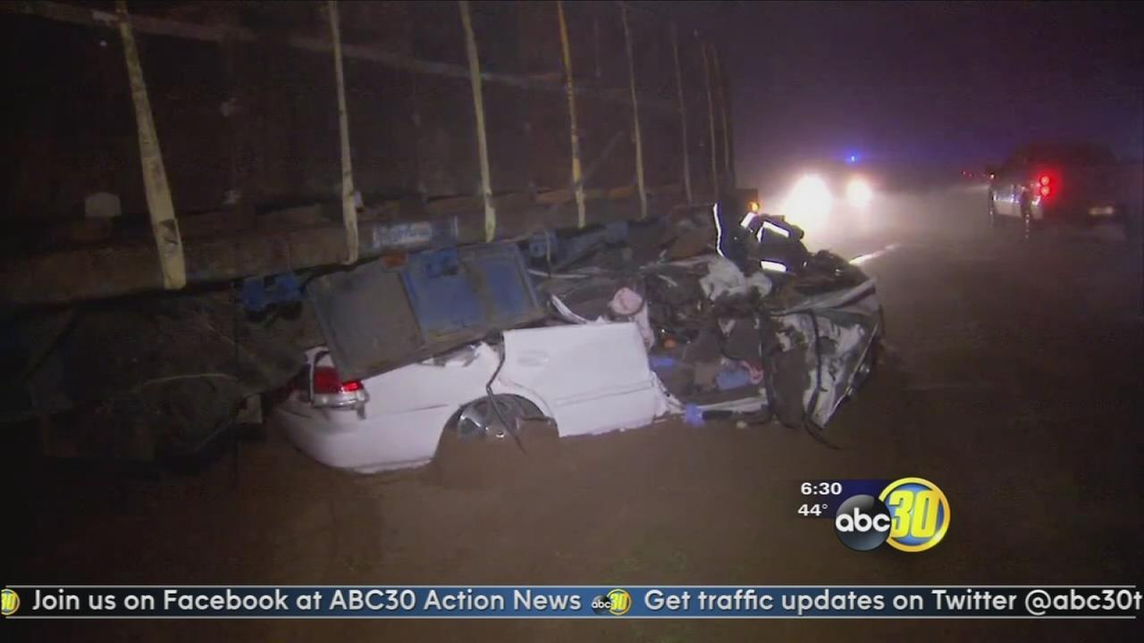 Car crashes into big rig on a foggy Fresno County road