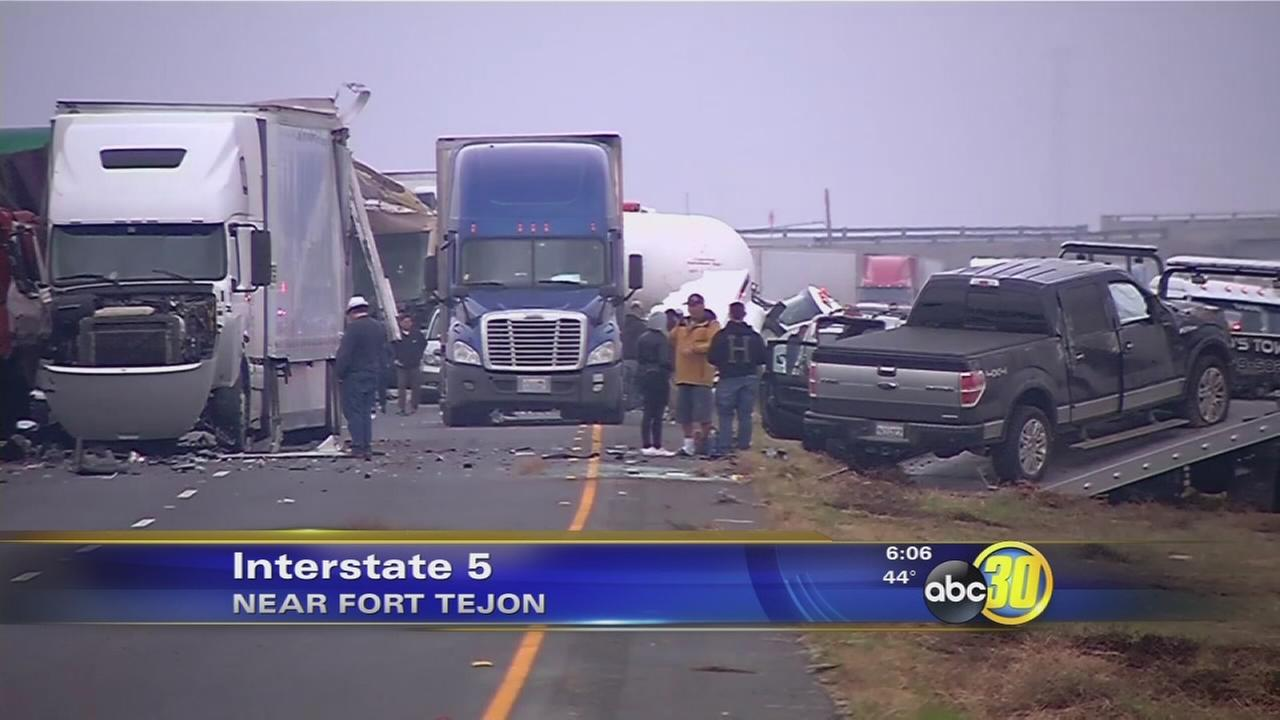 Southbound I-5 closed near Bakersfield after crash involving dozens of vehicles