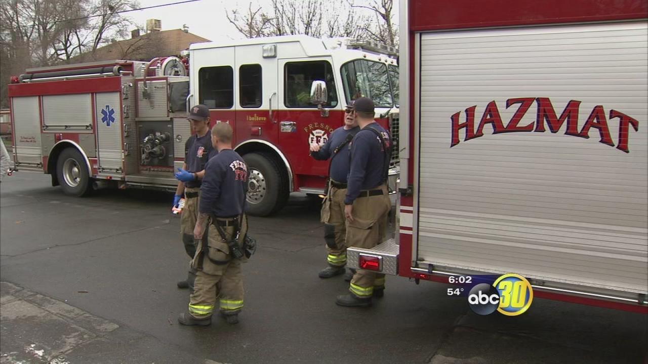 Hazmat team dispatched to central Fresno after suspicious liquid spill