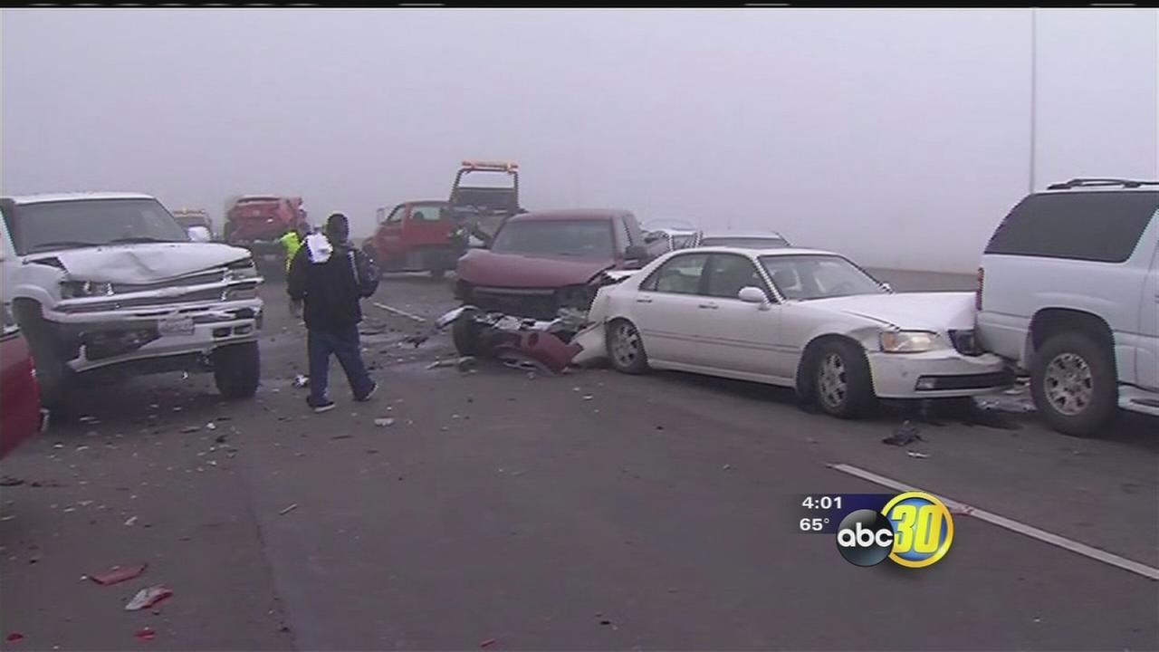 About 50 cars involved in Kings County fog related crashes, CHP says