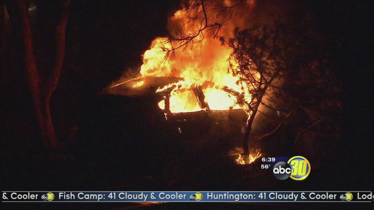 Car set on fire, then put in drive in Oakurst, authorities say