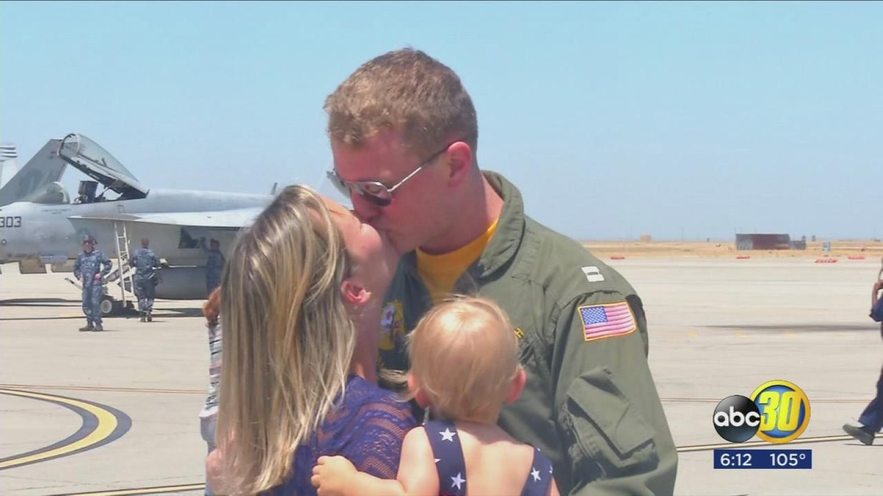 Pilots based at Naval Air Station Lemoore receive a warm welcome home