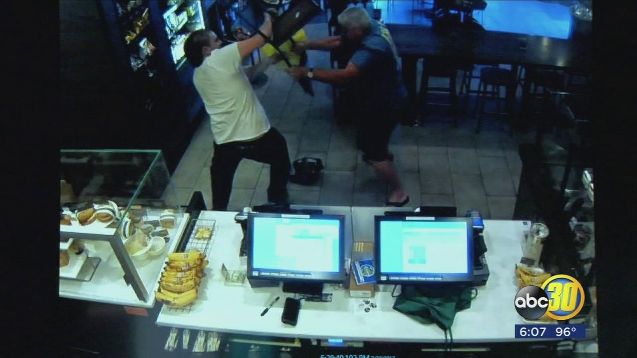 Dramatic video show the moment a customer takes on armed robber at Northwest Fresno Starbucks