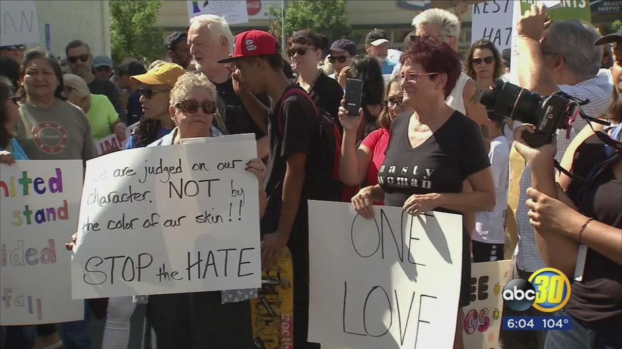 Anti-hate rally draws hundreds to Fresnos Tower District