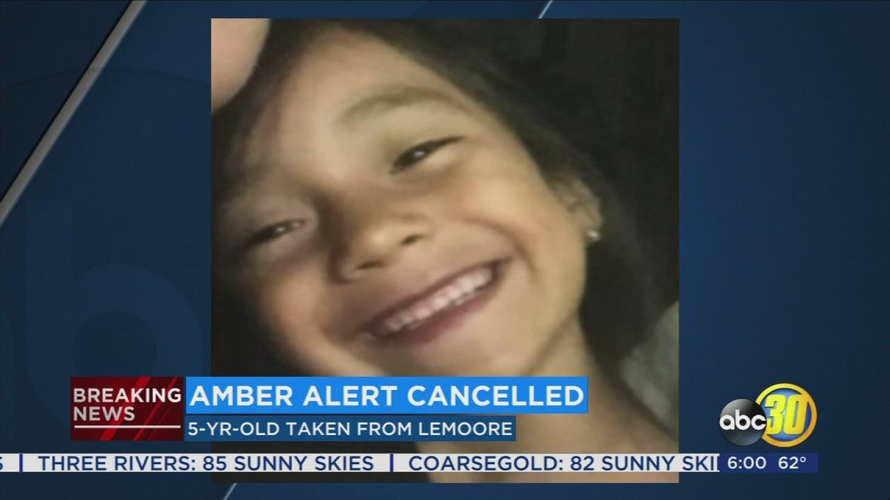Amber Alert canceled for 5-year-old Lemoore girl taken from home