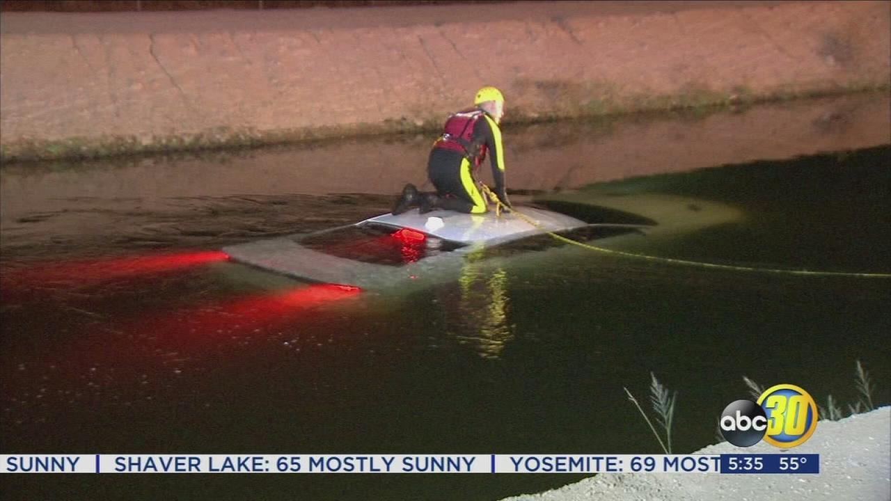 Police find stolen car in Southeast Fresno canal