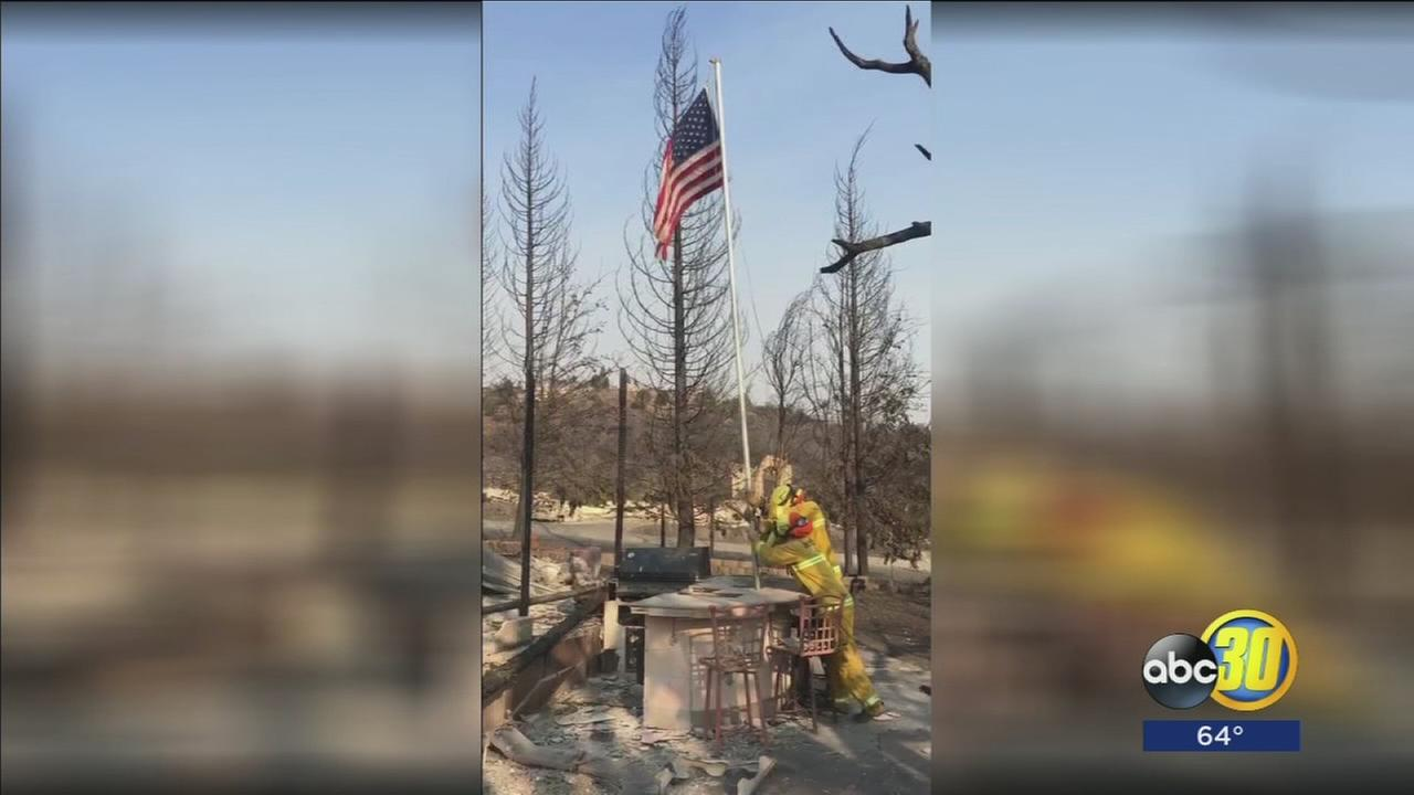American flag spared from relentless fire that wiped out neighborhood in Northern California wildfire