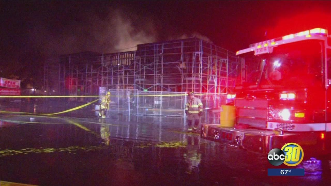 Flames tore through a large commercial building on Peach and Shaw just before six oclock Tuesday evening.