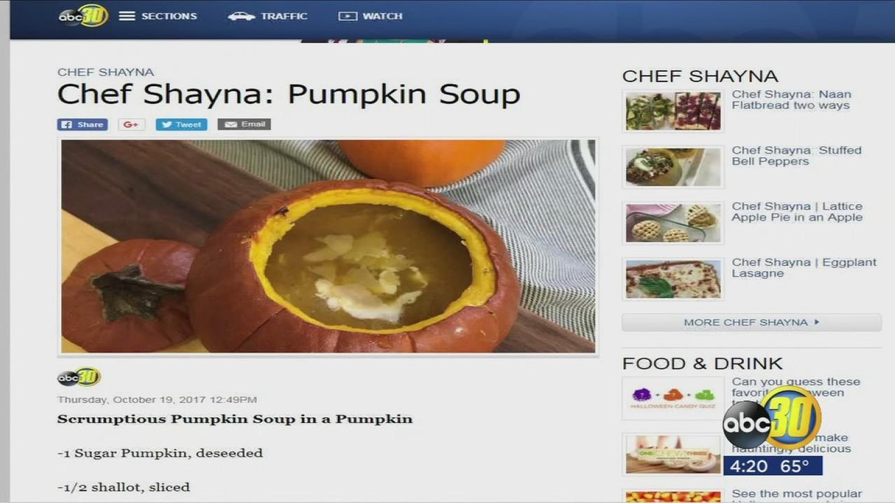 Scrumptious pumpkin soup in a pumpkin